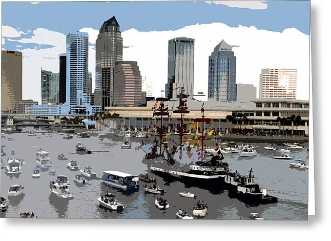 Pirate Ships Greeting Cards - Gasparilla invasion work number 6 Greeting Card by David Lee Thompson