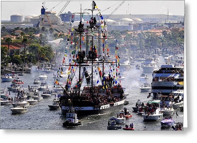 Pirate Ships Greeting Cards - Gasparillas Wild Crew Greeting Card by David Lee Thompson