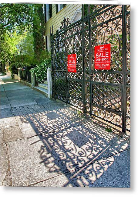 Charleston Sidewalk Greeting Cards - Gate And Shadow I Greeting Card by Steven Ainsworth