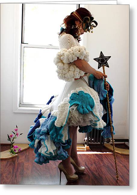 Knitted Dress Greeting Cards - Gate keeper of my fantasy land 2 Greeting Card by Ema Ishii