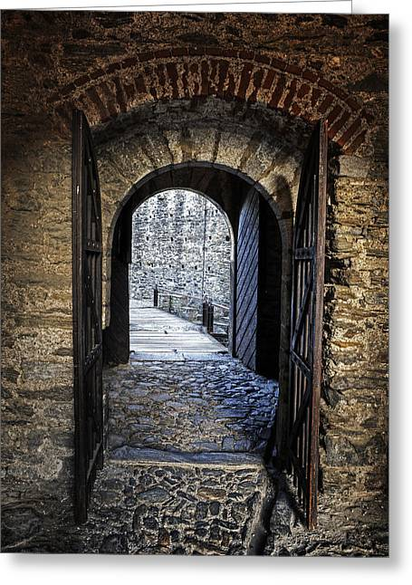Wood Castle Greeting Cards - Gate Of A Castle Greeting Card by Joana Kruse