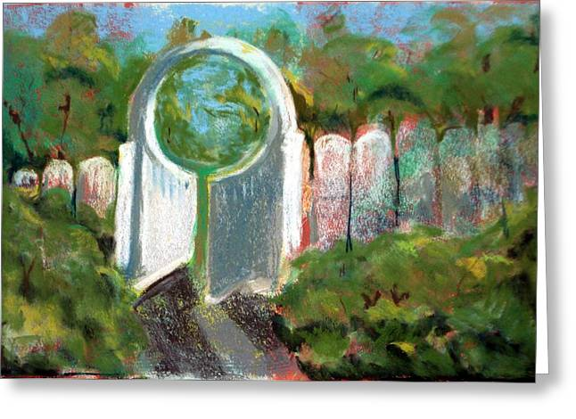 Gate Pastels Greeting Cards - Gate One Greeting Card by Viv Newing