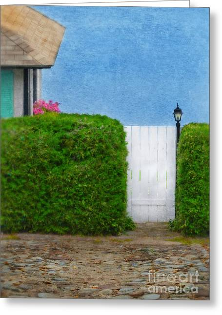 Lake House Greeting Cards - Gate to Cottage by the Sea Greeting Card by Jill Battaglia