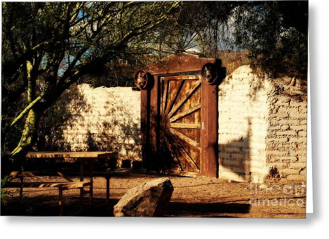 Wall Table Greeting Cards - Gate to Cowboy Heaven in Old Tuscon AZ Greeting Card by Susanne Van Hulst