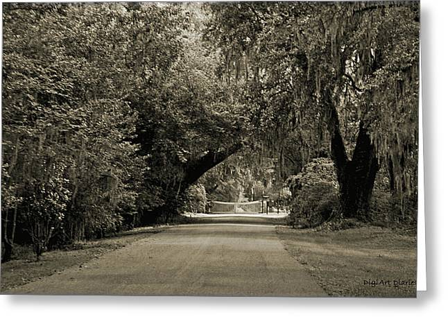 Roadway Digital Art Greeting Cards - Gate to Magnolia Plantation Greeting Card by DigiArt Diaries by Vicky B Fuller