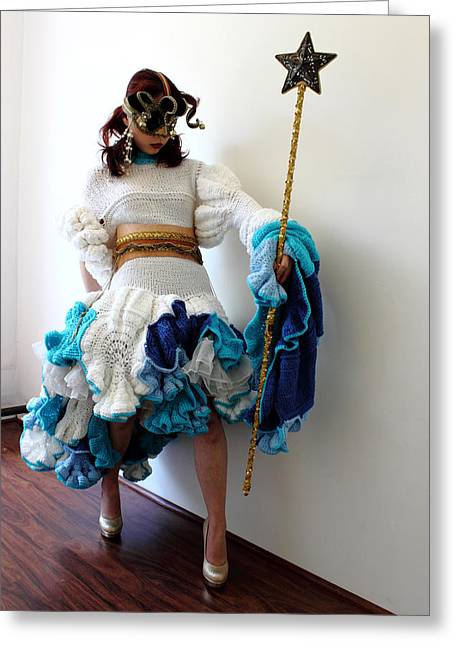 Knitted Dress Greeting Cards - Gatekeeper of my fantasy land Greeting Card by Ema Ishii