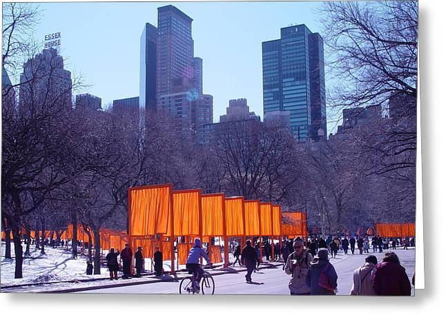 Gates And Snow In Central Park Greeting Card by Alton  Brothers