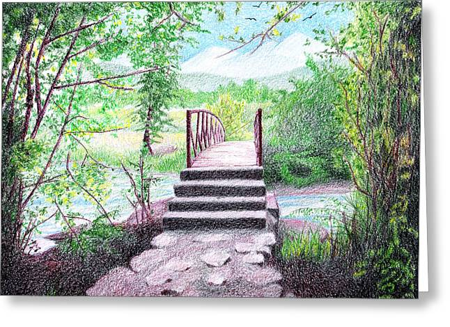 Prisma Colored Pencil Greeting Cards - Gateway Greeting Card by Nils Beasley