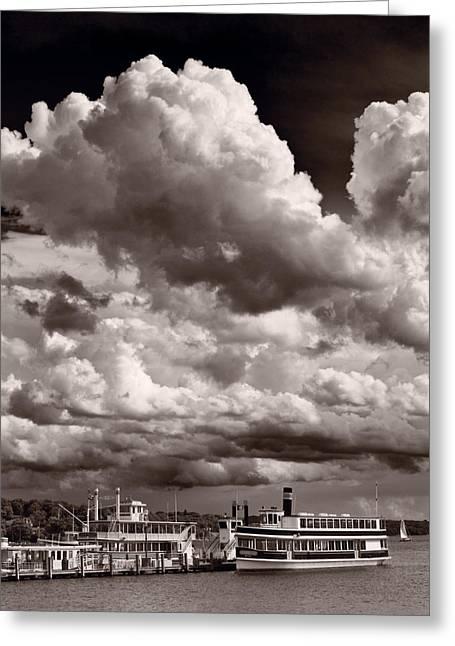 Lake Geneva Greeting Cards - Gathering Clouds Over Lake Geneva BW Greeting Card by Steve Gadomski