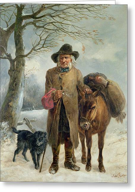 Wintry Greeting Cards - Gathering Winter Fuel  Greeting Card by John Barker
