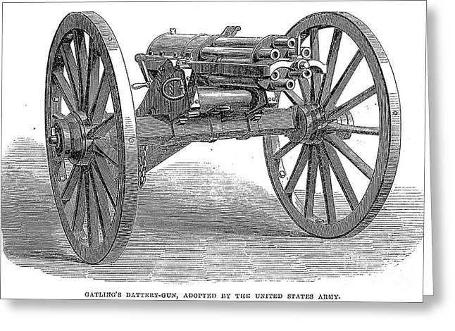 U.s Army Greeting Cards - Gatling Gun, 1867 Greeting Card by Granger