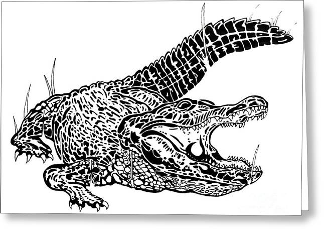 Smear Drawings Greeting Cards - Gator Feed Greeting Card by Jack Norton