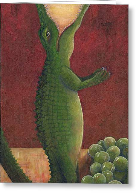 Pinot Grigio Greeting Cards - Gator Grigio Greeting Card by Debbie McCulley