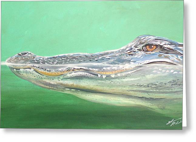 Florida Gators Paintings Greeting Cards - Gator Greeting Card by Shannon Wiley