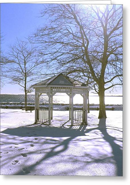 Snowy Day Greeting Cards - Gazebo in Winter Greeting Card by Kate Gallagher