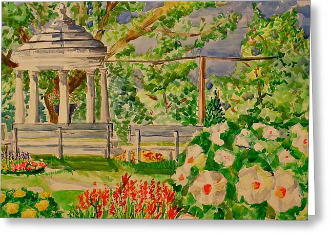 Jame Hayes Paintings Greeting Cards - Gazebo Greeting Card by Jame Hayes