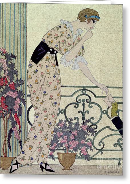The Love Letter Greeting Cards - Gazette du Bon Ton Greeting Card by Georges Barbier