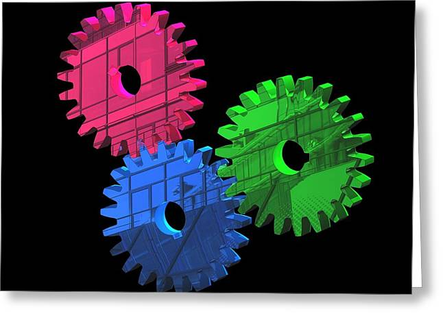 Mechanism Photographs Greeting Cards - Gear Wheels, Artwork Greeting Card by Laguna Design