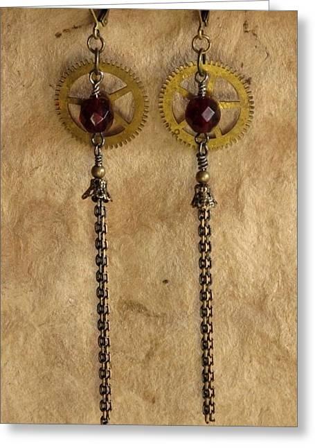 Gold Earrings Jewelry Greeting Cards - Gearrings III Greeting Card by Jan Brieger-Scranton