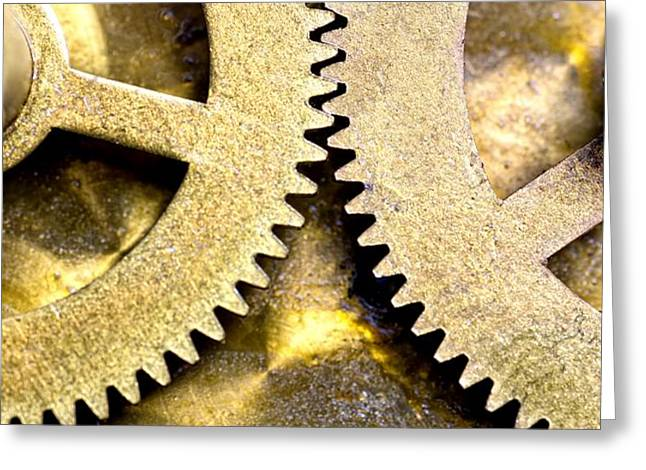 Gears From Inside A Wind-up Clock Greeting Card by John Short