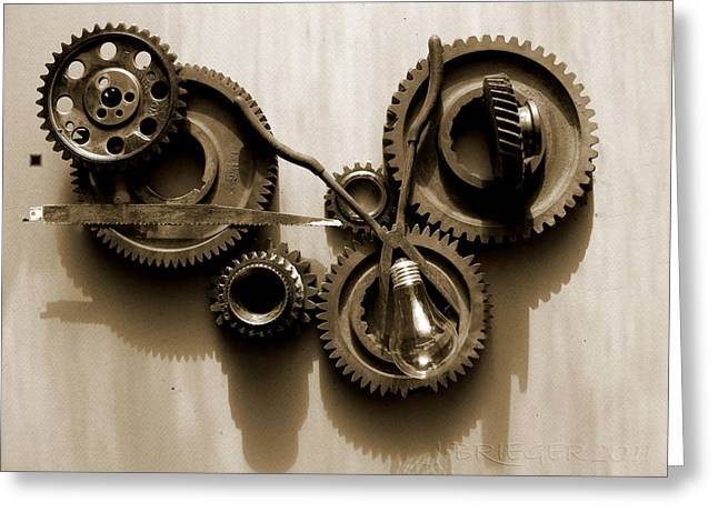Equipment Pyrography Greeting Cards - Gears IV Greeting Card by Jan Brieger-Scranton