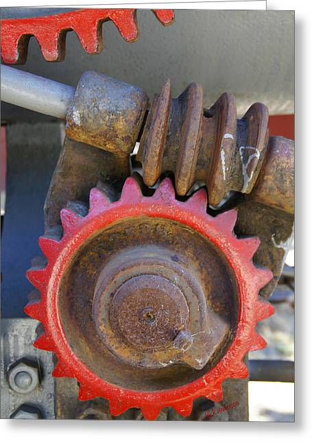 Gears Of Restored Steam Tractor Greeting Card by Mick Anderson