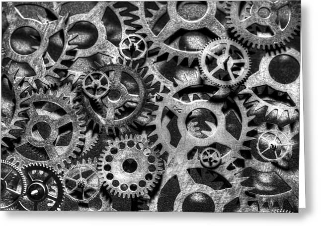 Large Clocks Greeting Cards - Gears of Time Black and White Greeting Card by David Paul Murray