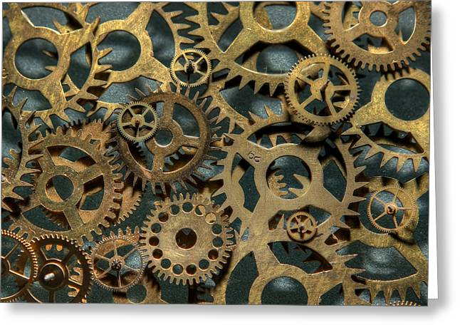 Gears of Time Greeting Card by David Paul Murray