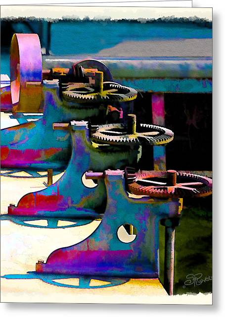 Watercolor Simulation Greeting Cards - Gears Greeting Card by Suni Roveto