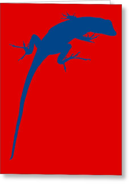 Gecko Silhouette Red Blue Greeting Card by Ramona Johnston