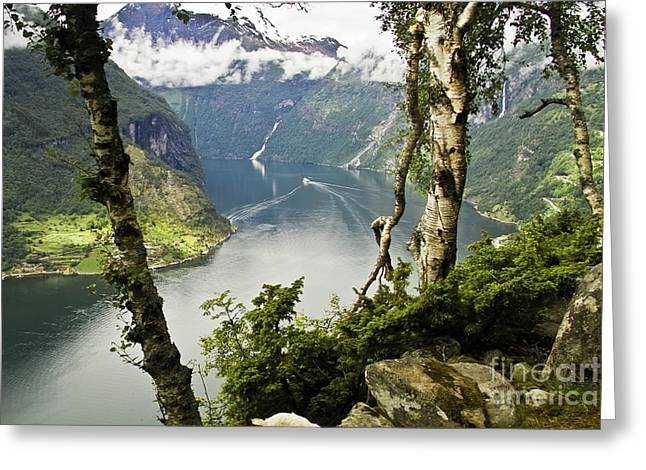 Norwegian Sea Greeting Cards - Geiranger Fjord Greeting Card by Heiko Koehrer-Wagner