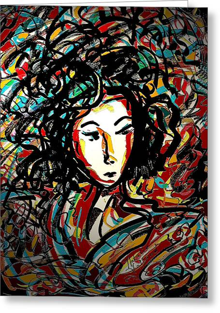 Spectacular Mixed Media Greeting Cards - Geisha 7 Greeting Card by Natalie Holland