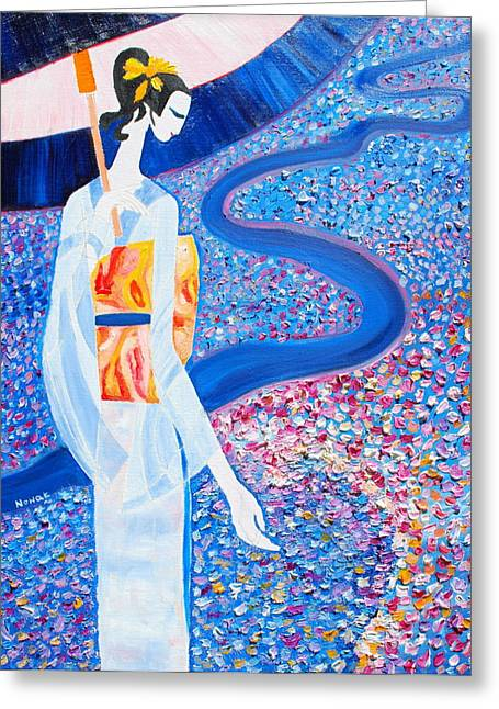 Asian Influence Greeting Cards - Geisha Greeting Card by Dorota Nowak