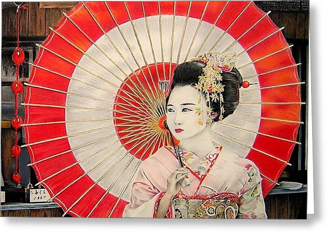Kyoto Drawings Greeting Cards - Geisha from Kyoto Greeting Card by Eric Pouillet
