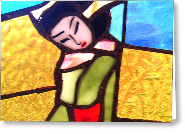 Asian Ceramics Greeting Cards - Geisha in doorway Greeting Card by Patricia Lazar
