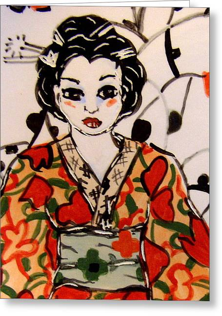 Asian Ceramics Greeting Cards - Geisha in training Greeting Card by Patricia Lazar
