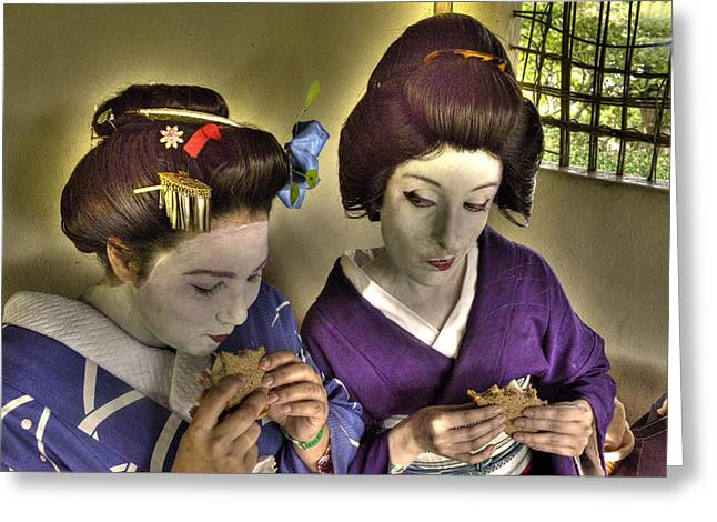 Geisha Lunch Greeting Card by William Fields