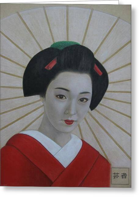 Red Lips Pastels Greeting Cards - Geisha Greeting Card by Lynet McDonald