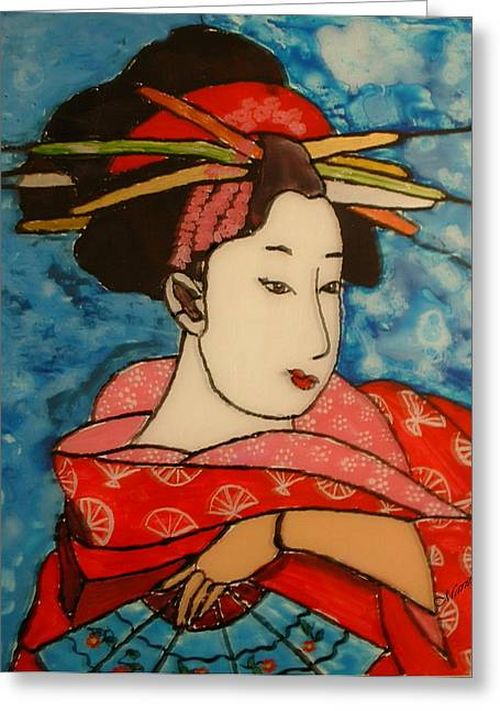 Japan Glass Art Greeting Cards - Geisha Greeting Card by Maritza De Leon