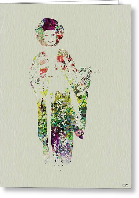 Geisha Greeting Card by Naxart Studio