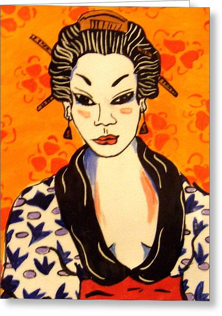 Best Sellers -  - Print Ceramics Greeting Cards - Geisha No. 1 Greeting Card by Patricia Lazar
