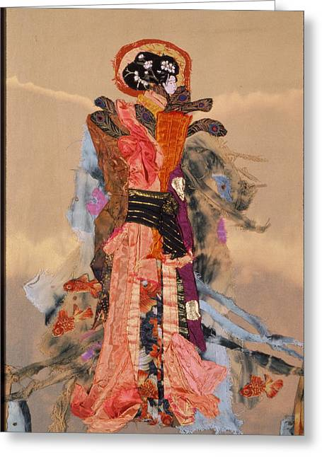 Bright Colors Tapestries - Textiles Greeting Cards - Geisha Greeting Card by Roberta Baker