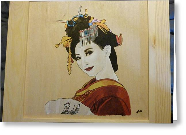 Original Pyrography Greeting Cards - Geisha White Ivory Framed Pyrographic Original Wood Panel by Pigatopia Greeting Card by Shannon Ivins