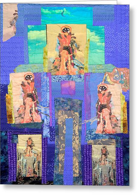 People Tapestries - Textiles Greeting Cards - Geisha with Blue Sky Greeting Card by Roberta Baker