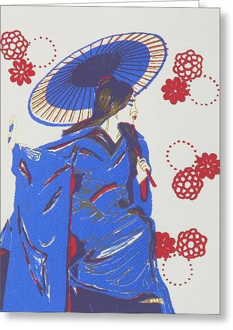 Purple Robe Mixed Media Greeting Cards - Geisha with Gold Greeting Card by Angela Conley