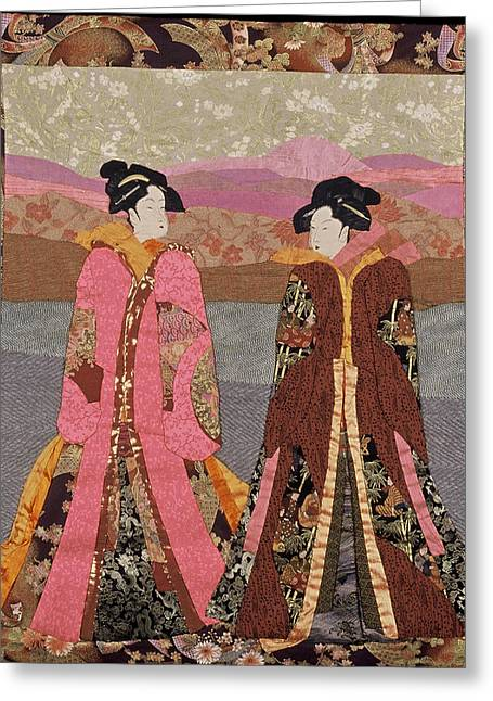 Wall Hanging Quilt Tapestries - Textiles Greeting Cards - Geishas in Rose Greeting Card by Roberta Baker