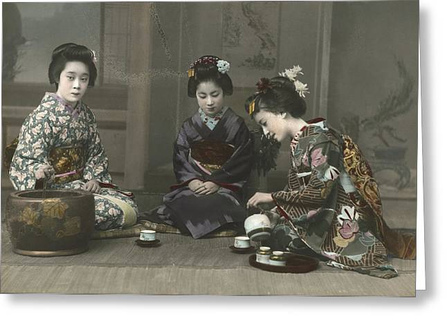 Period Photography Greeting Cards - Geishas Perform A Tea Ceremony Greeting Card by Eliza R. Scidmore