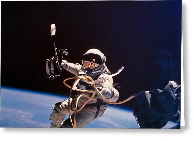 Image Collection Book Greeting Cards - Gemini 4 Astronaut Edward H. White Greeting Card by Nasa
