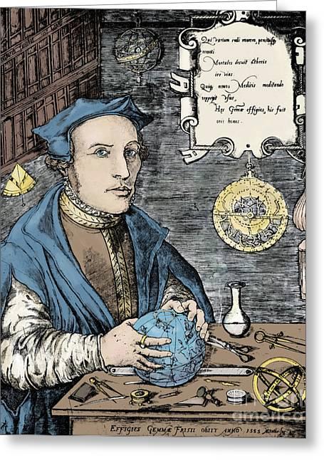 Mathematical Method Greeting Cards - Gemma Frisius, Dutch Polymath Greeting Card by Science Source