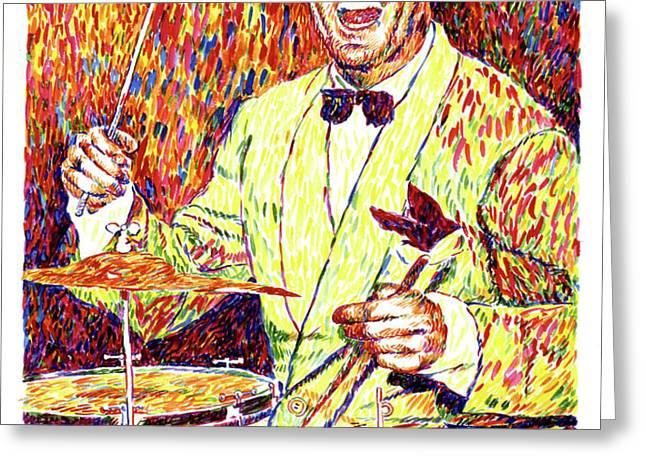 Gene Krupa the Drummer Greeting Card by David Lloyd Glover